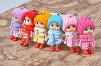 Wholesale Mixed Baby Dolls - 8cm Kids toys pendant dolls baby doll with cloth for girls 6 colors mix free shipping