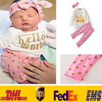 Wholesale Bow Top Suit - Newborn Girls Dot Sets Clothing Children Baby Kids Top t-shirt+Bow headband+long Pants Hello World Outfit Suits Clothes HH-S01