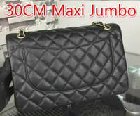 Wholesale Large White Ostrich Feathers - 1119 Black Lambskin Wholesale Price Large Classial 30CM Maxi Jumbo Quilted Chain Black Caviar Leather Double Flaps Shoulder Bag Gold   Sil