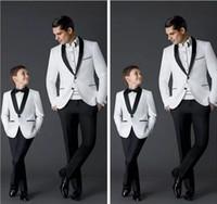 Wholesale boys wool tuxedo - Custom Made 2018 New Fashion Groom Tuxedos Men's Wedding Dress Prom Suits Father And Boy Tuxedos (Jacket+Pants+Bow) Formal Wear Tuxedos