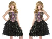 Wholesale Teen Knee Length Party Dresses - 2016 New Pre-Teen Little Playful Girls Pageant Colorful Crystal Dresses Black Short Feather Knee-Length Birthday Party Gowns