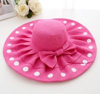Wholesale Big Sun Hats For Women - fashion Big Brim Beach Hat Dots Sun Straw bow-knot Hat for Women Summer Caps Foldable 1pc free shipping