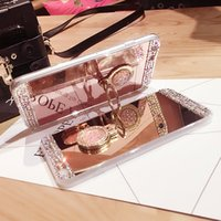 Wholesale Note Mirror Case - Luxury Ring Diamond Mirror Clear Handmade Rhinestone Frame Back Cover Phone Case for iPhone X 8 7 Plus for Samsung Note 8 S8