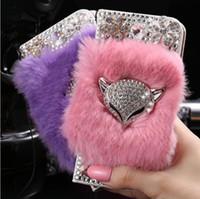 Wholesale Iphone Stylish Wallet Covers - Luxury Bling Diamond Stylish Rabbit Hair Fur Fox Case PU Leather Wallet Stand Cover For Iphone 5s 6s 6s plus 7 7plus Samsung S6 S7 S7 edge