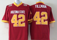 Wholesale Cheap 42 - Men Short Sports Jersey Red Black Arizona State Sun Devils 42 Pat Tillman Embroidery Stitching Names Numbers Cheap Top Quality Free Shipping