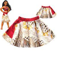Wholesale Zebra Ball Dresses - Girls Moana cosplay skirt 2017 New children cartoon moana skirt kids Halloween Straight short dress clothes B001