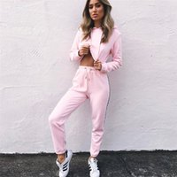 Wholesale Winter Woman Trousers - 2017092205 Autumn Winter Hoodie Sweatshirt Pants suit Set Women Pullover Side Striped pants Drawstring Crop top Trousers tracksuit
