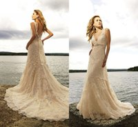Wholesale Wedding Dresses For Outdoors - Champagne Mermaid Wedding Dresses for Women Sexy Vestido De Noiva Mariage V Neck Lace Court Train Long Outdoor Summer Bridal Gowns 2018