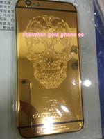 iphone grabado de nuevo al por mayor-Para la parte trasera del concepto de Iphone6 dorado, 6s más la carcasa de oro y para el iphone6 más oro real con grabado profundo envío gratis