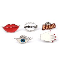 Wholesale Eye Pins For Jewelry - 5 Pcs set Women's Fashion Shirt Collar Brooch Pins Set Sexy Red Lip Hand Eye Set Brooches For Girls Children Jewelry 8