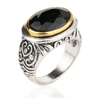 Wholesale Carved Emeralds - Retro Resin Carving waves Imitation Faceted Oval ruby jade ring Cabochon sapphire ring Black Gem Onyx agate Emerald Rings men 2017 j235