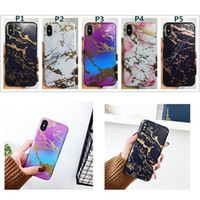 Wholesale Luxury Chrome Case - Marble Chrome Case Luxury frosted Soft TPU Protective Shockproof Cover For iPhone X 8 7 6 6s Plus Fashion Cases