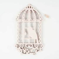 Wholesale Hanging Nest - 1pc pink wood Birdhouse Home decoration hanging home Bird Nest Holder laser cutting craft Free Shipping