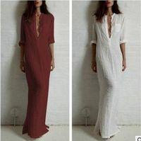 Wholesale Maxi Red Wines - Good quality summer Women Fashion Dresses Linen Cotton Casual Long Split Maxi Wrap shirt Dress Ladies Vestidos Wine red white black D89