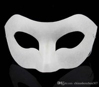 Wholesale Blank Paper Half Masks - Party Zorro Mask White Hand-painted masks Half Face Mask Halloween blank paper DIY Hip-Hop mask street dancing Christmas gifts