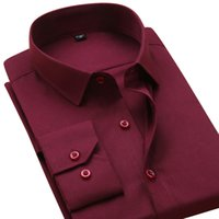 Großhandels-Brand New Herbst Männer Dress Shirt Solid Color Regular Fit Langarm-formale Geschäfts-Mann-beiläufige Hemd ohne Taschen Arbeitskleidung