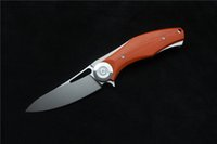 Wholesale Tracking Knife - GREEN THORN 2015 Newest Dark V Titanium + G10 handle double track ball bearing Flipper folding knife D2 blade hunt camp EDC tool