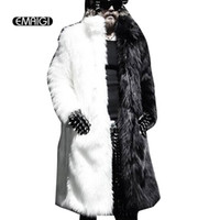 Wholesale Men Full Length Fur Coats - Men Fur Coat Winter 2016 Plus Size Faux Fur Coat Men Punk Parka Jackets Full Length Leather Overcoats Long Fur Coat Man K239