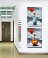 Peintures À La Maison Contemporaines Pas Cher-Contemporary Beautiful Flower Paintings Reproduction giclée Sur toile Wall Art Home Decor Set20149