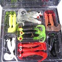 Wholesale Grub Worm Silicone - Hot 1 Set(17pcs) Fishing Lure Lead Jig Head Hook Grub Worm Soft Baits Shads Silicone Fishing Tackle Fishing Artificial lures