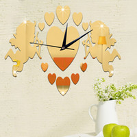 Wholesale Large Ship Poster - 2016 American Style Mirror Wall Sticker Acrylic Stickers Home Decor 3D Stick Still Life Large Clock Poster Cupid Free Shipping
