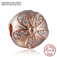 Wholesale Rose Gold Clip Charm - Rose Gold Plated Dazzling Daisy Clip Charm Beads 925 Sterling Silver AAA CZ Flower Stopper Bead DIY Brand Logo Bracelets Jewelry
