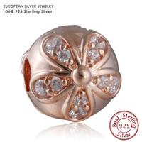 Wholesale Gold Stopper Bracelet - Rose Gold Plated Dazzling Daisy Clip Charm Beads 925 Sterling Silver AAA CZ Flower Stopper Bead DIY Brand Logo Bracelets Jewelry