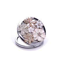 Wholesale Rhinestone Floral Bling Wholesale - Rhinestone Flower Mirror Bling Crystal Floral Beauty Makeup Compact Pocket Mirror Wedding Party Gift for Guests Bridesmaid Women Lady Girl