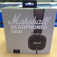 Wholesale Professional Ear Headphones - Marshall Major II headphones With Mic Deep Bass DJ Hi-Fi Headphone HiFi Headset Professional DJ Monitor Earphone black