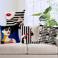Wholesale Sexy Lips Pillow - 2017 new factory direct sale fashion women cushion cover sexy red lips pillow case black and white stripes free shipping