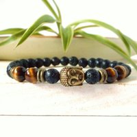 Wholesale gemstone tiger eye - Buddha bracelet mala, lava Buddha, natural stone, tiger eye Buddha, Buddha men's bracelet men, bronze Buddha, gemstone Buddha, 6mm bracelet