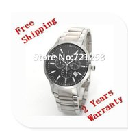 Wholesale Gents Wristwatches - free hk shipping _Absolute luxury New Gent Chronograph Watch AR2434 2434 Mens Stainless Steel Black Dial Wristwatch +original box