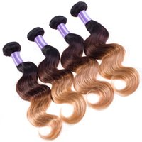 tonlar ombre saç 27 toptan satış-Ombre İnsan saç Vücut Dalga 3/4 adet Malezya Vücut Dalga 3 Tonlu Ombre 1b 4 27 İnsan Saç Dokuma Paketler Toptan