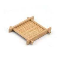Wholesale chinese cotton padded - Mini Handmade Bamboo Cup Mat Kung Fu Tea Accessories Table Placemats Coaster Drinks Kitchen Product Mug Pads ZA4378