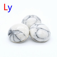 Wholesale Turquoise Glass Beads Wholesale - 12pcs lot Hot Sale Charm Jewelry 18mm White Glass Snaps Bracelet Turquoise Ginger Snap Button AC295