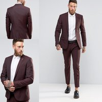 Wholesale Cheapest Slimming - Cheap One Buttons Slim Groom Tuxedos Two Pieces Groomsmen Best Man Suits Mens Wedding Suits Groom Wear (Jacket+Pants) Custom Made Suits
