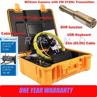 Wholesale Pipe Camera Keyboard - Pipeline CCTV Inspection Camera 512Hz Transmitter locator Cable Counter Keyboard 8GB SD card 710DNLKC Industrial Pipe Endoscope