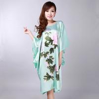Wholesale Kaftan Dresses Wholesale - Wholesale- Light Blue Traditional Chinese Women's Silk Rayon Robe Dress Summer Casual Sleepwear Flower Yukata Kaftan Gown Plus Size WR031