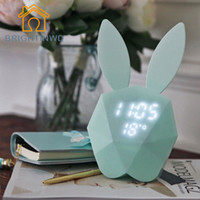 Wholesale Digital Alarm Wall Clock - Wholesale- Rabbit Bunny Digital Alarm Clock Green Pink LED Night Light Thermometer Table Wall Clock Built-in Lithium Battery rechargeable