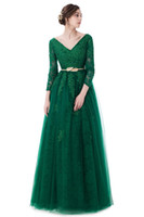 Wholesale Luxury Banquet Dress - Fashion 2017 New Luxury Green Lace Evening Dress The Bride Banquet A-line Long Sleeved Backless Party Gown Custom Prom Dress