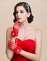 Wholesale Hand Accessories For Women - 2016 Red White sheer gloves Women Wedding Gloves Hand Made Flowers Full Finger Gloves Accessories Wrist Length for Wedding Party