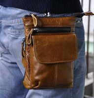 Wholesale Men Shoulder Waist Cross - 1314 Genuine Leather Men Waist Bag Small Shoulder Bag For Outdoor Cross Body Bag First Ply Cowhide Leather Best Quality Factory Sales