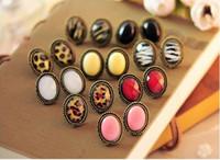 Wholesale Earring Studs Pins - Vintage women earrings jewelry oval leopard pattern ear studs ear pins gifts for her