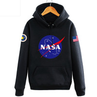 Wholesale Hooded Tops For Women - NASA Letter Printed Plus Size 3XL Pullover Hoodies For Women Men Long Sleeve Hooded Hip Hop Autumn Winter Casual Top Sweatshirts