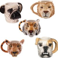 Wholesale Animal Mugs - Animal Head Ceramic Cups Dog Shaped Mug 3D Pug Tiger Lion Leopard Head Coffee Cup Cute Stereo Mugs 7 Styles OOA2448