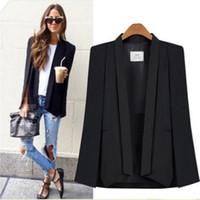 ingrosso ufficio giubbotto giacca-Cappotto a maniche lunghe e ponchoes per le donne Blazer mantello Giacca autunno stile British Fashion Office Jacket Suit