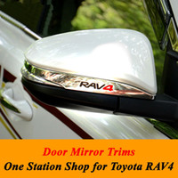 Wholesale Mirrors Covers For Toyota - 2016 Toyota RAV4 Rav 4 Rear View Mirror Trim for 2013 2014 2015 Rav4 ABS Chrome Side Wing Mirror Cover Trim Car Accessories 2pcs Set