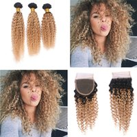 Wholesale Dark Blonde Curly Hair Extensions - Dark Roots Ombre 1B 27 hair Weft With Closure 4x4 Honey Blonde 1B 27 bundles Top Lace Closure With Kinky Curly Hair Extension