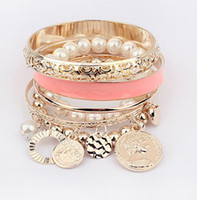 Wholesale elements pearl bracelet - Pearl Charms Bracelets for Women 6 Colors Hollow Imitation Pearl Coins Element Avatar Statement Charm Multilayer Bangle Bracelets