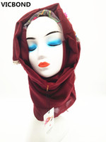 Wholesale flower hijab green - VICBOND Hot sale optional colour hollow flower lace cotton scarf shawl pashmina women Muslim hijab fashion soft 10pcs lot